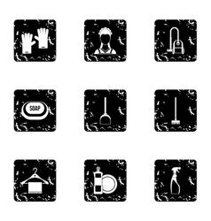 Sanitation icons set grunge style vector