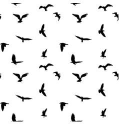 seamless pattern of flying birds silhouettes on vector image vector image