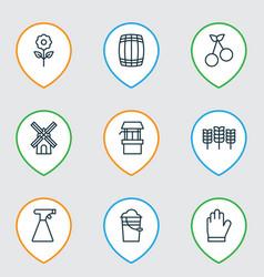 Set of 9 farm icons includes decorative plant vector