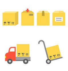 shipping and handtruck icons set vector image vector image