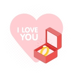 Wedding diamond ring in a box vector