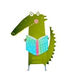 Childish student crocodile reading book and study vector