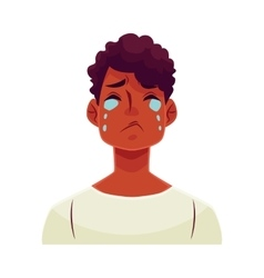 Young african man face crying facial expression vector