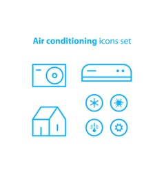 Air conditioning linear logo and icons vector