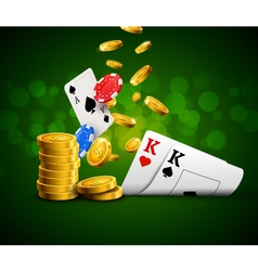Poker chips casino green poster gamble cards and vector