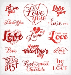 Valentines day red typography design elements vector