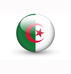 Round icon with national flag of algeria vector