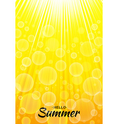 Summer yellow glow background with sun rays vector