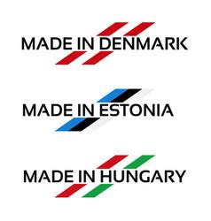 Set logos made in denmark made in estonia vector