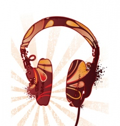 Decorated headphones vector