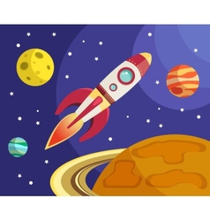 Rocket in space print vector