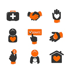 Charity and donation icons vector
