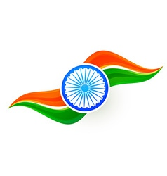 Indian flag design in wave style vector