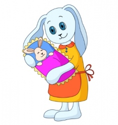 Rabbit mother with the child vector