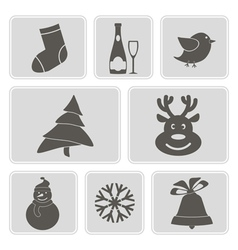 Monochrome icons with christmas symbols vector