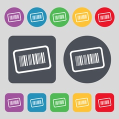 Barcode icon sign a set of 12 colored buttons flat vector