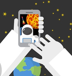 Selfie in space astronaut photographed myself on vector