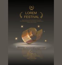 Camera film 35 mm roll gold festival movie poster vector