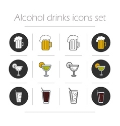Alcoholic drinks icons set vector