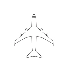 Airplanes top flat black linear icon on white vector