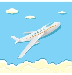 Airplane icon cartoon plane in blue sky vector