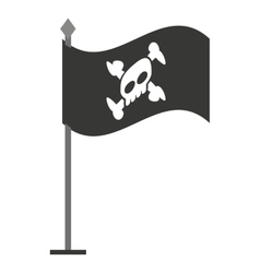 Alert skull in flag isolated icon design vector