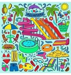 Aquapark colorful doodle set vector