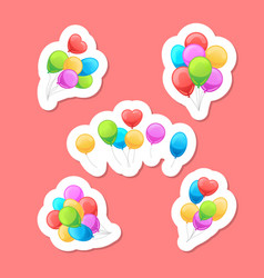 Balloons stickers set vector