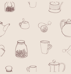beautiful seamless pattern with hand drawn kitchen vector image vector image