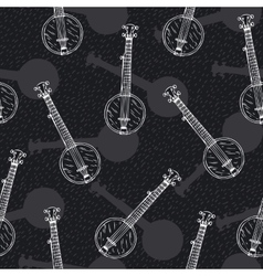 Black and White Seamless Pattern with Banjos vector image vector image