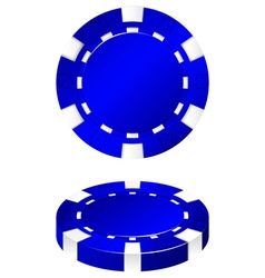 Blue casino chips front and side vector