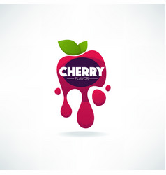 bright sticker emblem and logo for cherry flavor vector image vector image