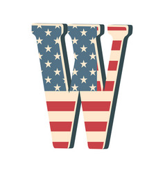 Capital 3d letter w with american flag texture vector