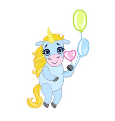 cartoon light blue lovely unicorn standing and vector image vector image