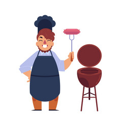 Chef man holding sausage barbecue bbq grill vector