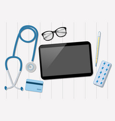 Doctor office with tablet and stethoscope vector