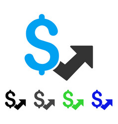 dollar growth flat icon vector image vector image