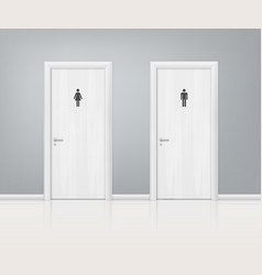 doors wc realistic composition vector image
