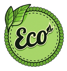 ecology label - eco sign and text on round vector image vector image
