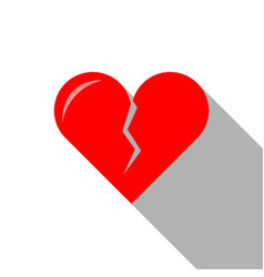 Flat icon of broken heart for valentines day vector