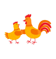 funny hen and rooster are dancing flat vector image vector image