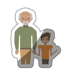 Grandfather and grandson together vector