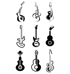 guitar icon set vector image vector image