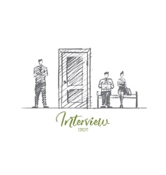 Hand drawn business people waiting for interview vector image vector image