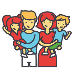 Happy family portrait standing together parents vector