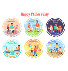 Happy fathers day celebration set of vector