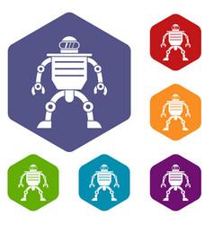Humanoid robot icons set hexagon vector