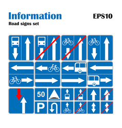 informational road blue symbols set vector image vector image