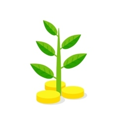 Investments icon plant growing on coins - vector