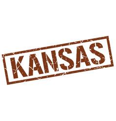 Kansas brown square stamp vector